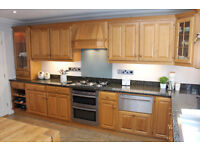 *** SOLD **** Oak kitchen units with granite worktops, oven, hob & sinks