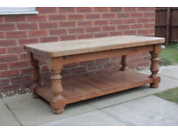 Vintage solid pine chunky coffee table