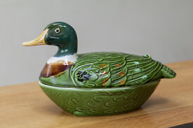Vintage French Faience Majolica Duck Terrine Dish