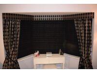Boudoir - Luxury black & gold velvet & fabric curtains 8 ft high, pelmet, curtain ties & lamp shade
