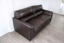 Brown Leather Sofa Bed **DELIVERY AVAILABLE** 2 Seater