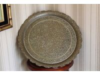 Arabic Persian Far Eastern style decorative carved metal plate