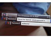 PS2 games: The Simpsons Hit & Run, NFS Underground 2 & Killzone