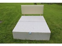 """4'6"""" divan base with faux cream leather head board"""