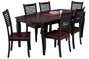 Victoria Boat Shape Seven Piece Dining Set In Distressed Light Cherry And Black