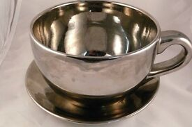 Metal Teacup and Saucer Planter Shiny and Heavy Plant Pot Indoor collect NW8
