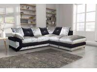 New Pose Dino Corner Sofa Black & Silver Formal Back in Crushed Velvet Fabric (R Hand)