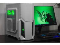 New White Gaming PC Fast Performance Quad Core 8GB AMD HD4890 Green LED Win10 Custom Backplate