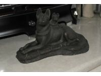COLD CAST BRONZE SIGNED GERMAN SHEPHERD DOG AND PUP ALSATIAN ALSATION