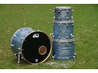 DW Collector's Series Pure Maple 4 Piece Blue Oyster Drum Kit Shell Pack