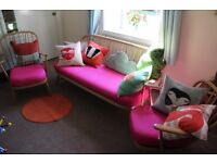 Vintage Retro Ercol Windsor 3 piece suite.new seat pads and silk upholstery.pink.