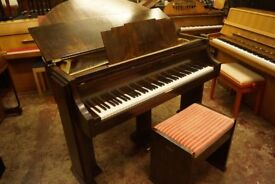 Strohmenger Art Deco walnut baby grand piano with original matching bench. Tuned & UK del. avail.