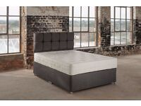 5ft king size Graphite Grey divan bed, with 9 inch deep quilted mattress. Free delivery