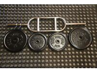 Triceps bar / hammer curl bar with cast iron weights