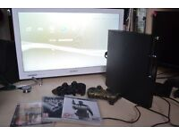 Sony Playstation 3 Slim charcoal black 120gb console (ps3 with 2 controllers and 3 games)