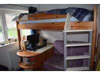 Stompa Casa High Sleeper with Sofa Bed, Pull Out Desk & Storage