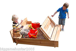 Garden Games 4ft sq Wooden Sandpit the benches fold into a lid with underlay