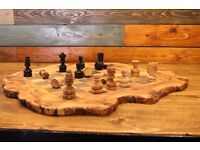 Olive wood chess board hand carved big wooden chess set games