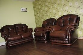 Chesterfield leather Thomas Lloyd suite 2 seater sofa and 2 chairs
