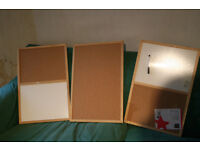 3 cork boards 2 with white boards