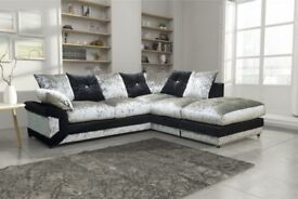 Cheapest Price Guaranteed ! Brand New Dino Crushed Velvet 3 + 2 Sofa Or Corner Sofa in Black silver