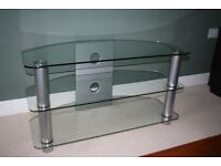 Glass TV Stand with brushed stainless steel legs