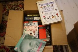 box of books of a medical/ health theme