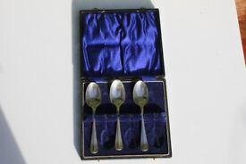 3 Boxed Sterling Silver Tea Spoon Birmingham 1937 Barker Brothers 78g Art Deco