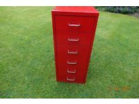 6 DRAW METAL STORAGE UNIT IN RED