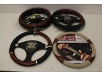 Job Lot of Wooden Steering Wheel Covers - 6 Covers with Different Designs