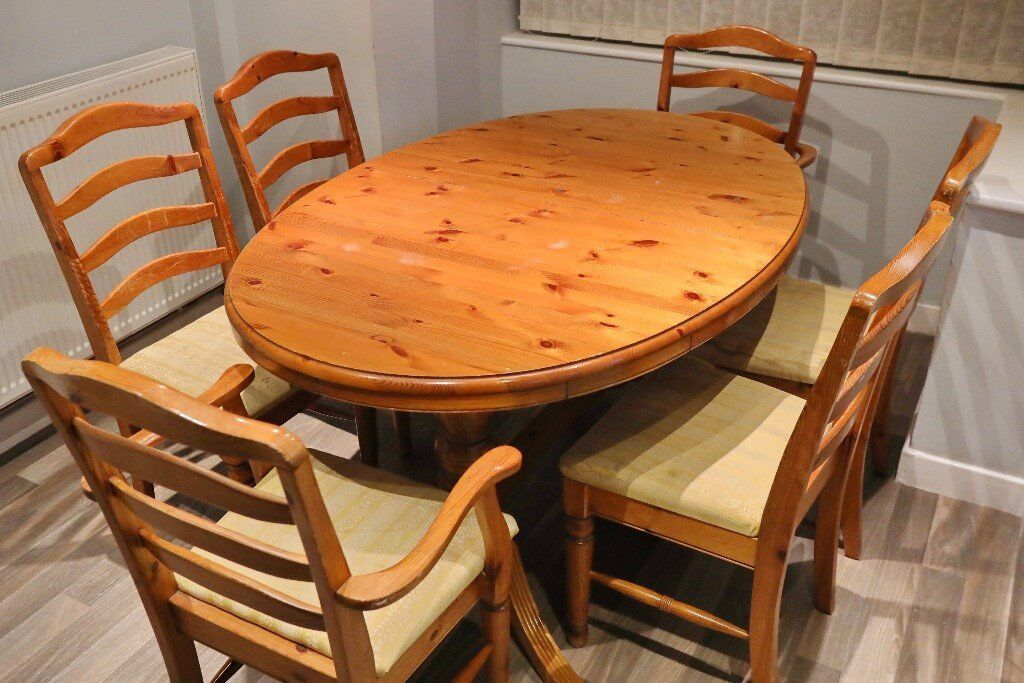 Ducal Oval Pine Extending Dining Table Pedestal Feet And 6 Upholstered Chairs