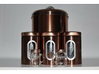 Copper Kitchen Tea Coffee Sugar Canisters, Salt & Pepper & Matching Bread Bin