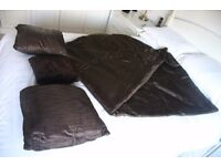 DARK BROWN SATIN THROW AND PILLOWS