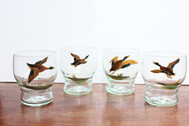 Unusual Set of 4 Vintage Handpainted Mallard Duck Glasses Artist Signed Drinking Glass Bird
