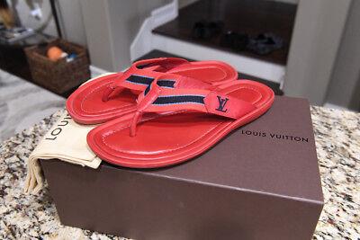 Louis Vuitton Red Leather & Canvas Atlantic Thong Sandals Mens