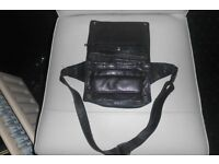 "LADIES BLACK LEATHER SHOULDER BAG with 8 COMPARTMENTS, 7"" x 5"" with 36"" ADJUSTABLE SHOULDER STRAP"