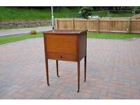Sewing cabinet- craftsman made in solid wood, with lift up lid and pull out drawer