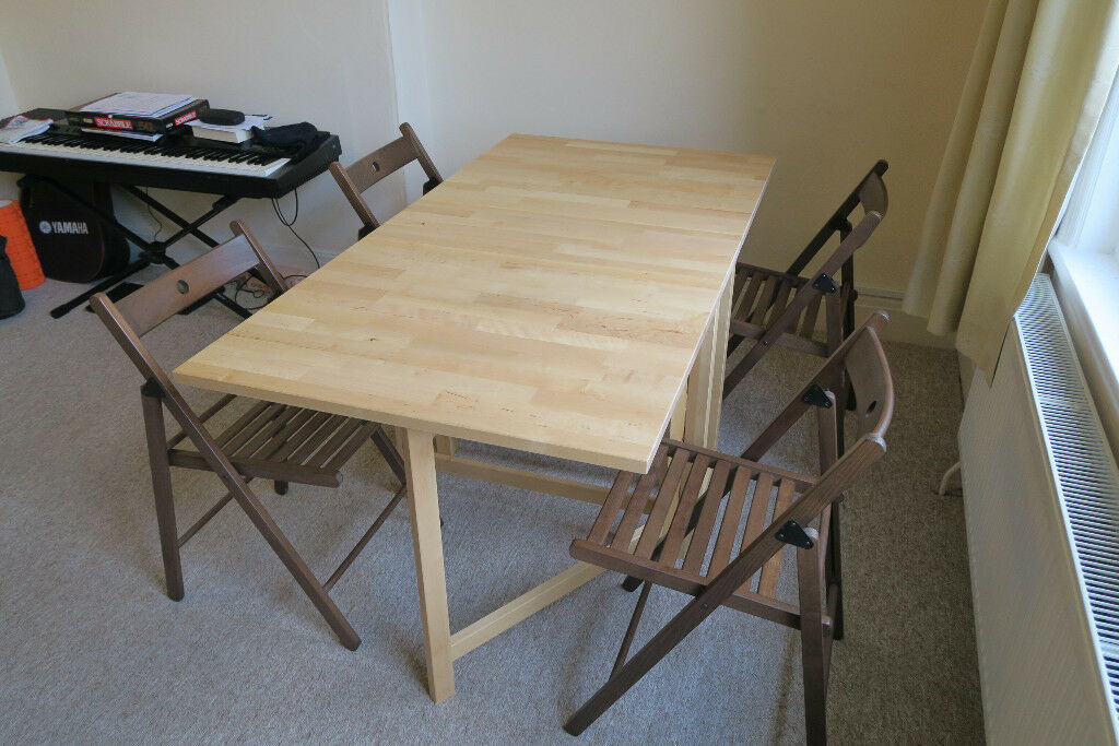 Ikea Folding Leaf Dining Table And Chairs As New In Bath Somerset