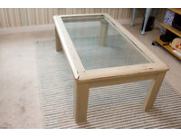 Coffee table Shabby Chic with clear glass top