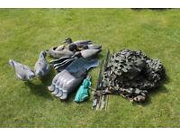 Decoys for sale, 12 x pigeon wobble shells, 4 x duck, Camo web + poles, 4 mtr x 1and half mtr