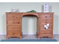 DELIVERY OPTIONS - QUALITY MADE PINE DRESSING TABLE/DESK 8 DRAWERS ALL DOVETAIL