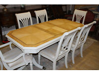 stunning shabby chic table and six beautiful chairs