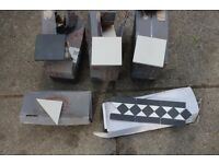 Victorian tiles - Black and White. Comes with Border detailing and half cut pieces. Pathway. Garden