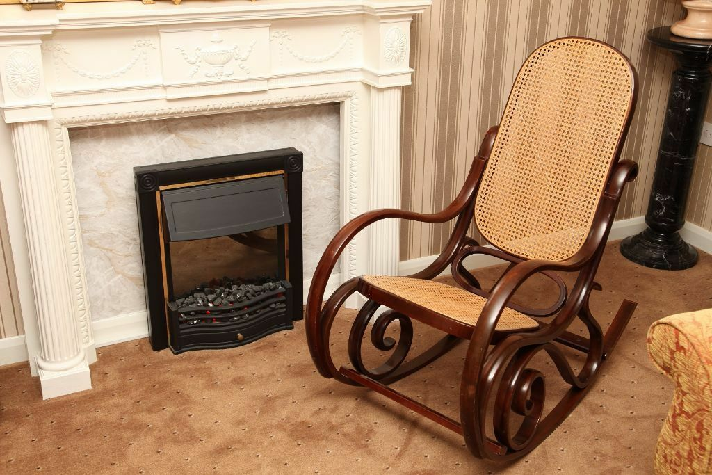 Antique Style Wood And Rattan Weave Cane Rocking Chair