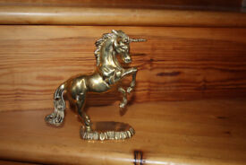 Unicorn Figurine Polished Solid Brass - Prancing Stance