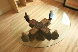 COFFEE TABLE - HAND CARVED INDIAN TABLE WITH TOUGHENED GLASS TOP