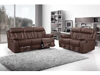 ***VANCOUVER BROWN NEW LEATHER RECLINER FREE DELIVERY SOFA***