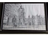 Framed drawing of Kings College Aberdeen by Eric Ross