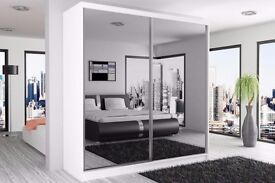 BRAND NEW SLIDING 2 DOOR WARDROBE AVAILABLE IN DIFFERENT WIDTH WHITE/BLACK/WALNUT COLOUR