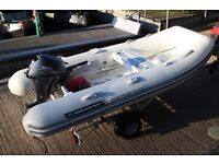 2008 Walker Bay Genesis 5man rigid inflatable RIB, outboard + new boat trailer Very low hours.
